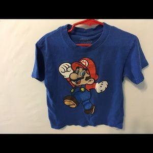Super Mario Boys Tee Sz 6/7 Blue Big Mario Pic
